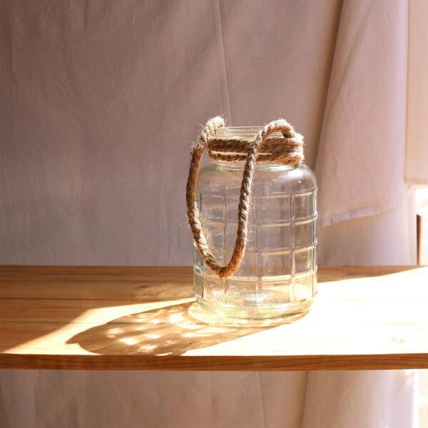 gerro de vidre amb nansa de corda